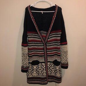 Free People cardigan sweater tribal print wool
